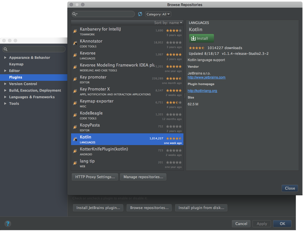 How to install Kotlin plugin in Android Studio